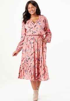 Peasant Crinkle Dress, DESERT ROSE FEATHER