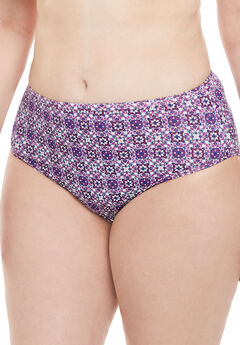High-Cut Microfiber Brief by Comfort Choice®, FRESH BERRY MOSAIC, hi-res