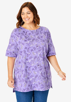 Perfect Printed Boatneck Tunic, SOFT LAVENDER PRETTY PAISLEY