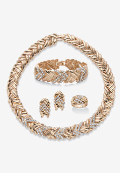 Gold Tone Braided Necklace, Earring, Bracelet and Ring Set,