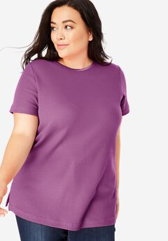 Satin-Trimmed Crewneck Thermal Tee, RADIANT ORCHID