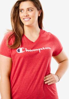 Jersey V-Neck Script Logo Tee by Champion®,