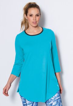 Scoop neck tunic by fullbeauty SPORT®, OCEAN, hi-res