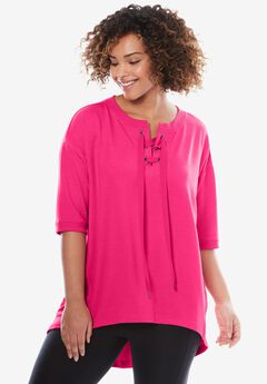 High-low lace-up sweatshirt by fullbeauty SPORT®, PASSION PINK, hi-res