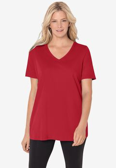 Perfect V-Neck Tee, CLASSIC RED