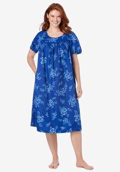 Short Print Shirred Lounger , ULTRA BLUE BOUQUET