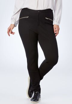 Zip-Pocket Ponte Pant, BLACK, hi-res