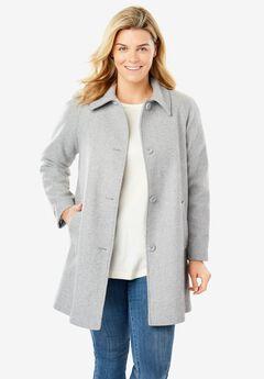Wool-Blend Classic A-Line Coat, HEATHER GREY