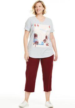 Knit capri pants set, PINK HOLLYWOOD