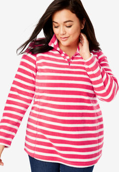 Quarter-Zip Microfleece Pullover, VIBRANT ROSE STRIPE