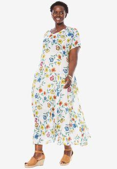 Short sleeve crinkle dress, WHITE OUTLINE FLORAL, hi-res