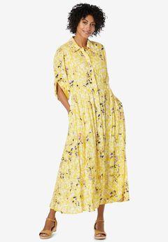 Crinkle Shirtdress, PRIMROSE YELLOW LEAF