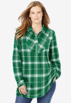 Henley Bib Flannel Shirt, EMERALD PLAID