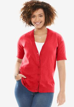 Cool cotton cardigan sweater, CORAL RED, hi-res