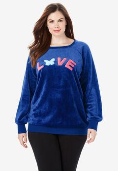 Plush Graphic Sweatshirt by Dreams & Co.®, TRUE BLUE LOVE