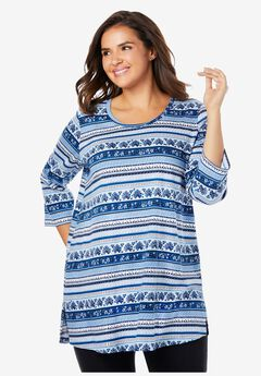 Perfect Printed Three-Quarter Sleeve Tunic, DEEP COBALT BATIK STRIPE