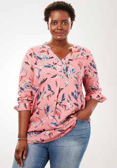Tab-front long sleeve shirt, PINK SORBET FEATHER, hi-res