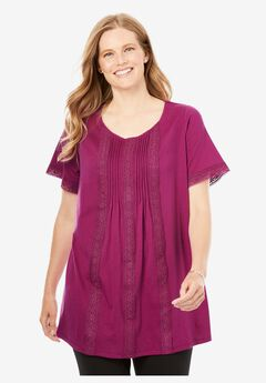 Lace-Trim Pintucked Tunic,