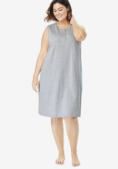 Sleeveless Henley Sleepshirt by Dreams & Co®,