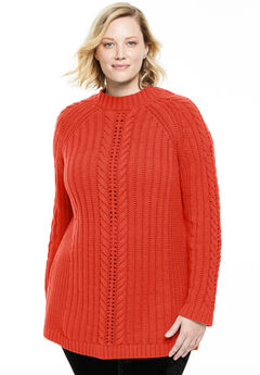 Pullover Boatneck Cabled Sweater,