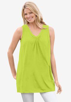 Perfect Sleeveless Shirred V-Neck Tunic, LIME