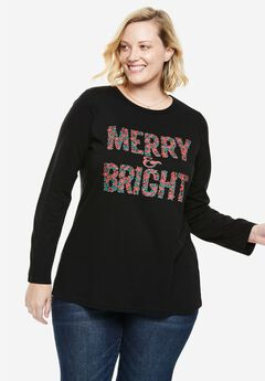 Holiday Graphic Tee, BLACK MERRY AND BRIGHT