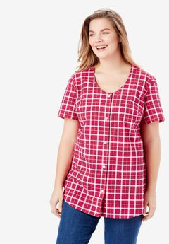 Seersucker V-Neck Shirt, CRYSTAL BERRY PICNIC PLAID