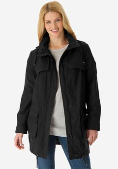 Quick drying Taslon® parka fleece-lined jacket, BLACK
