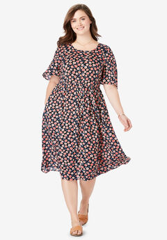 Flutter Sleeve Printed Midi Dress,