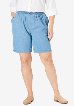 100% Cotton Comfort Pull On Jean Short, LIGHT STONEWASH, hi-res