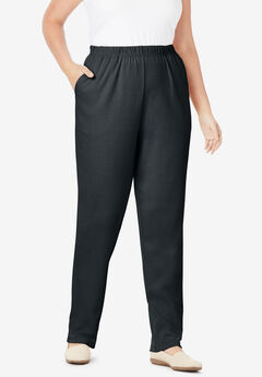 7-Day Knit Straight Leg Pant, BLACK