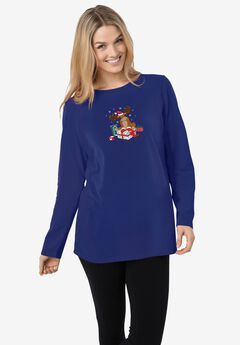 Holiday Graphic Tee, BLUE REINDEER