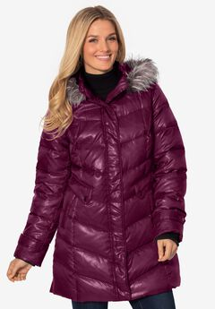 Hooded down fill puffer jacket,