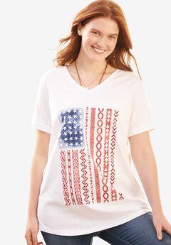 Cuffed Americana Print Tee, WHITE MIXED AMERICANA, hi-res