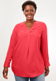 Tab-Front Long Sleeve Shirt, CORAL RED