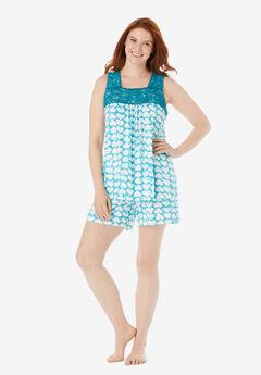 Lace-Trim Short Pajama Set , DARK TURQ TIE DYE HEARTS