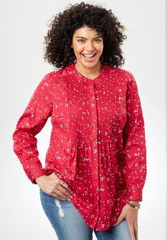 Perfect Pintuck Shirt, CHERRY DOT