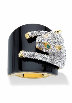 Yellow Gold-Plated Natural Black Onyx and Crystal Leopard Ring,