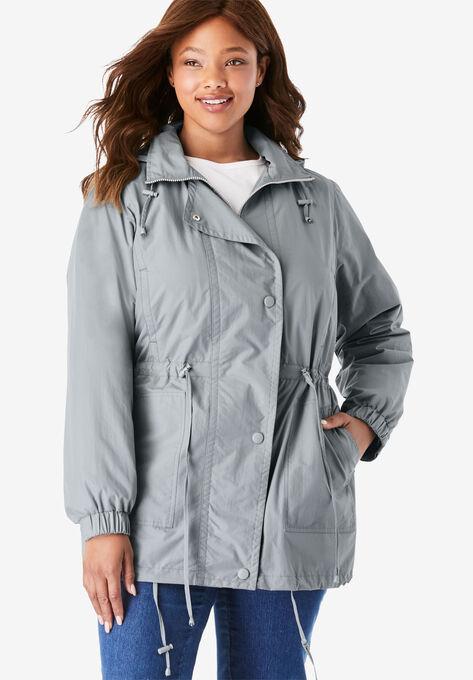 d0960cf8c45 Fleece-Lined Taslon® Anorak| Plus Size Raincoats & Trench Coats ...