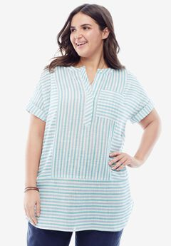 Striped Maxi Tunic with Pocket,