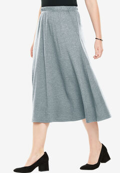 7-Day Knit A-Line Skirt, MEDIUM HEATHER GREY