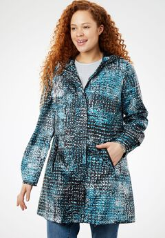 Packable Anorak Raincoat, DEEP TURQUOISE ABSTRACT