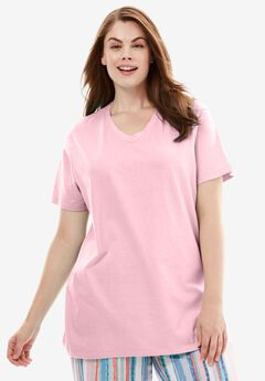 V-Neck Sleep Tee by Dreams & Co®, PINK, hi-res