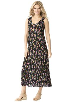 Woman Within®Sleeveless Crinkle Dress,