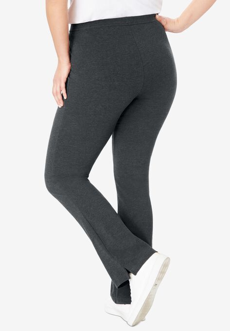 Stretch Cotton Bootcut Yoga Pant Woman Within