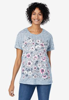 Marled Cuffed-Sleeve Tee, NAVY PINK FLORAL PLACEMENT