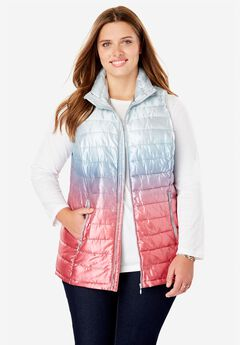 Packable Puffer Vest, METALLIC PALE ICE OMBRE