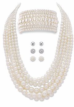 Silver Tone Simulated Pearl Multi Strand Necklace, Bracelet and Stud Earring Set, plus Extender,