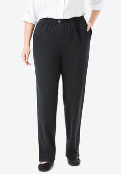 Elastic-Waist Cotton Straight Leg Pant, BLACK