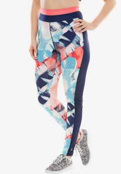 Leggings by FullBeauty SPORT®, EVENING BLUE GRAPHIC TROPICANA, hi-res